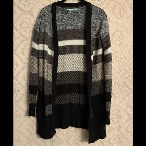 Long black gray and white sweater cardigan